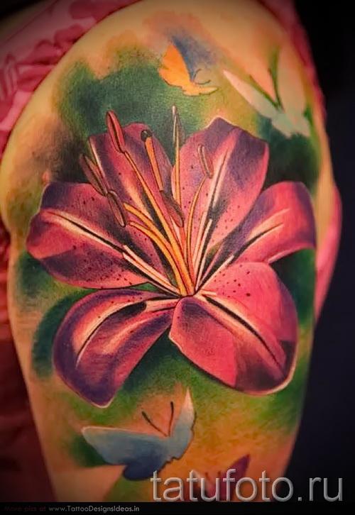 тату цветок лилия 6