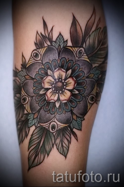 тату цветок мандала - фото классной татуировки от 21122015 № 1