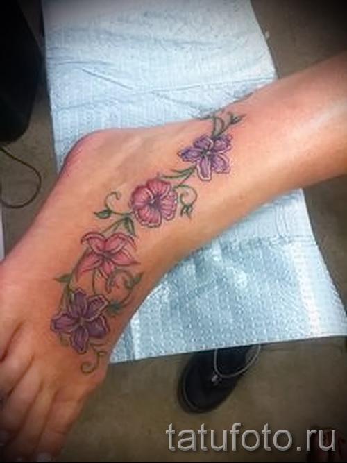 тату цветы на ноге - фото вариант от 21122015 № 2