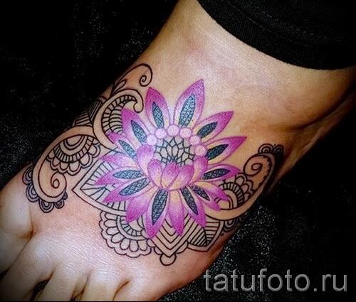 тату цветы на ноге - фото вариант от 21122015 № 8