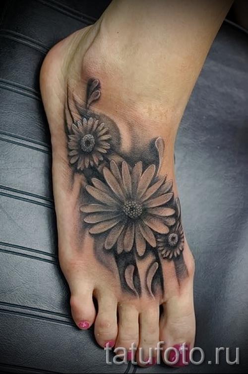 тату цветы на ноге - фото вариант от 21122015 № 9