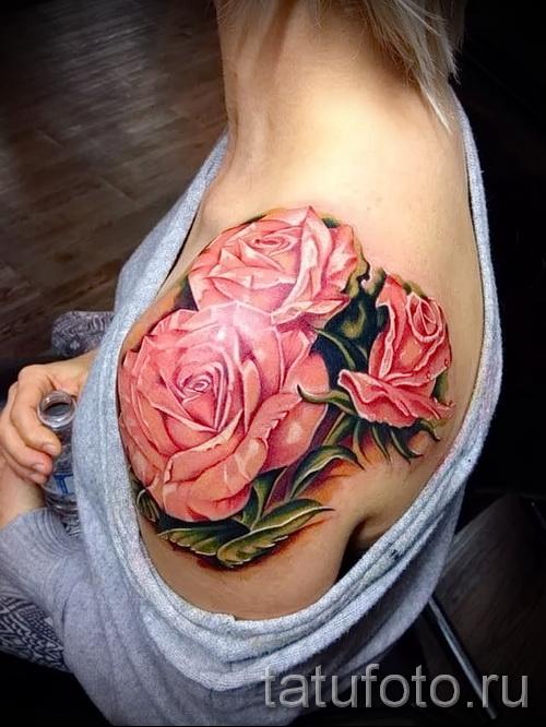 тату цветы на плече - фото вариант от 21122015 № 1
