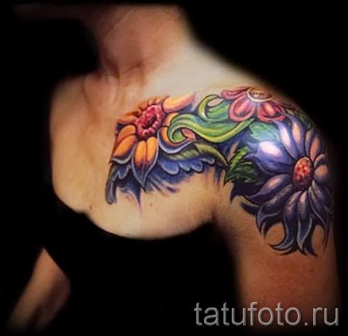 тату цветы на плече - фото вариант от 21122015 № 8