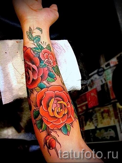 тату цветы на предплечье - фото вариант от 21122015 № 12