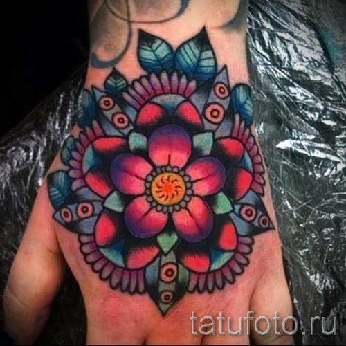 тату цветы на руке - фото вариант от 21122015 № 13