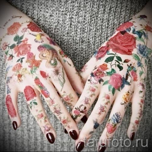 тату цветы на руке - фото вариант от 21122015 № 15