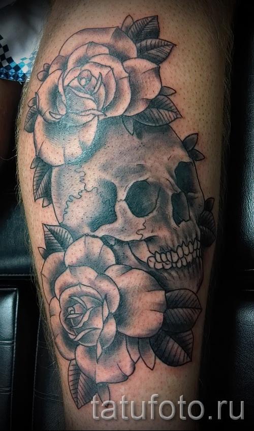 тату череп с розами - фото вариант от 15122015 № 12