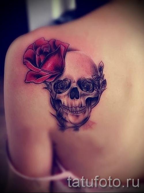 тату череп с розами - фото вариант от 15122015 № 17