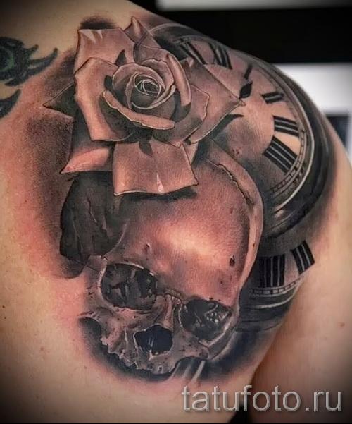 тату череп с розами - фото вариант от 15122015 № 21