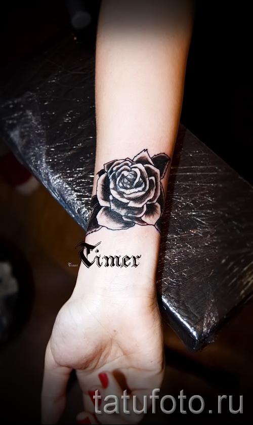 черная роза тату - фото вариант от 15122015 № 7