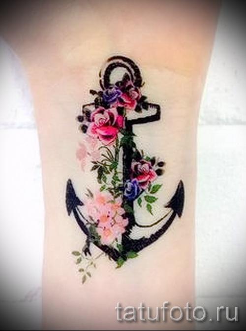 якорь с цветами тату - фото вариант от 21122015 № 1