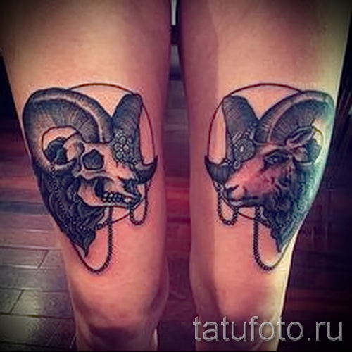 Capricorne tatouage sur sa jambe - exemple Photo de 18122015№ 1