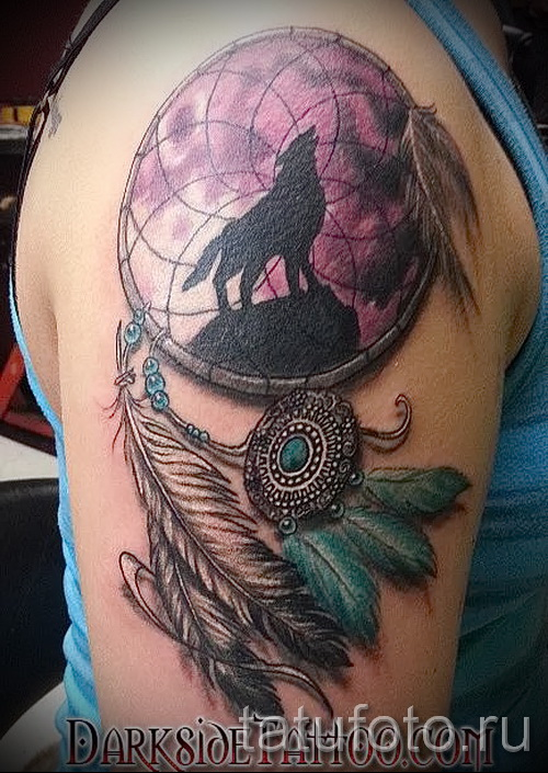 Dreamcatcher tattoo on his arm - Photo example of the number 11122014 3