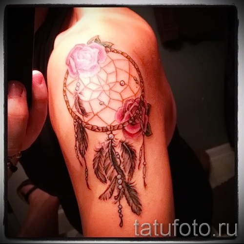 Dreamcatcher tattoo on his arm - Photo example of the number 11122014 4