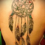 Dreamcatcher tattoo on his back - a photo example of the number 11122014 4