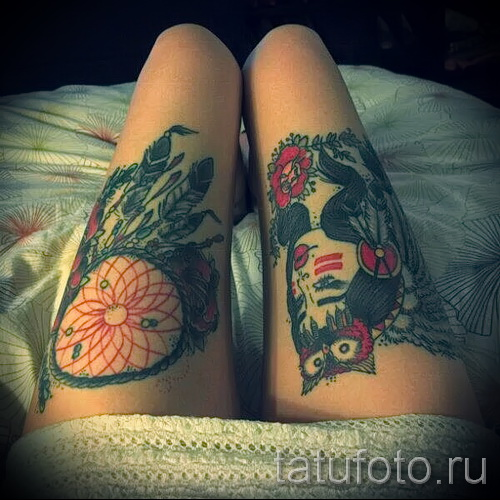 Dreamcatcher tattoo on his leg - Photo example of the number 11122014 4