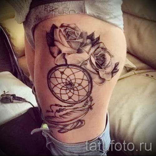 Dreamcatcher tattoo on his leg - Photo example of the number 11122014 5