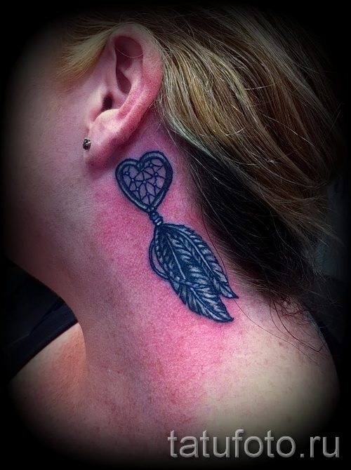 Dreamcatcher tattoo on his neck - Photo example of the number 11122014 2