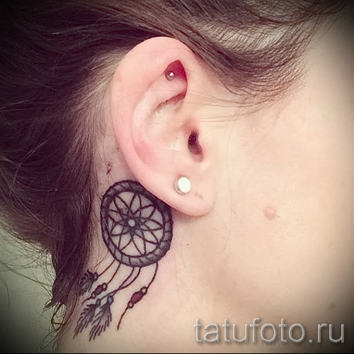 Dreamcatcher tattoo on his neck - Photo example of the number 11122014 4