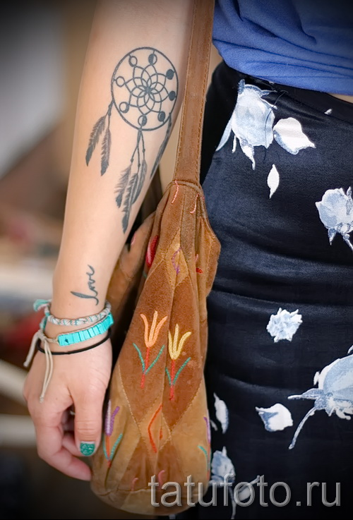 Dreamcatcher tattoo on the wrist - Photo example of the number 11122014 1