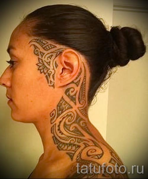 Hals Tattoo Abstraktion - Foto Beispiel für die Nummer 21122015 1