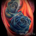 Rose Tattoo Designs With Blue Color