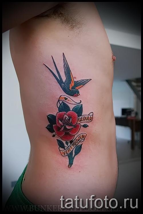 Rose Tattoo auf den Rippen - Picture-Option aus dem Nummer 15122015 2