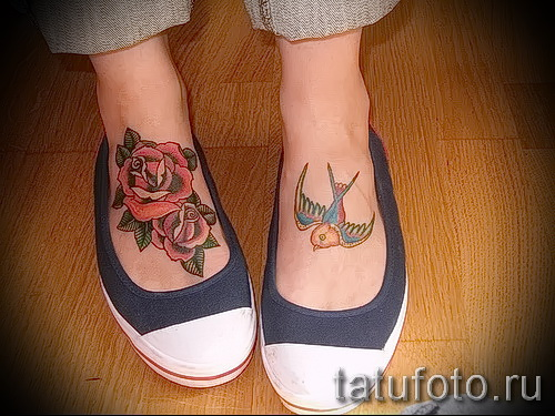 Rose tattoo on foot - Photo by option number 15122015 2
