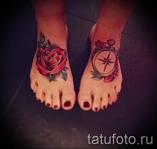 Rose tattoo on foot - Photo by option number 15122015 3