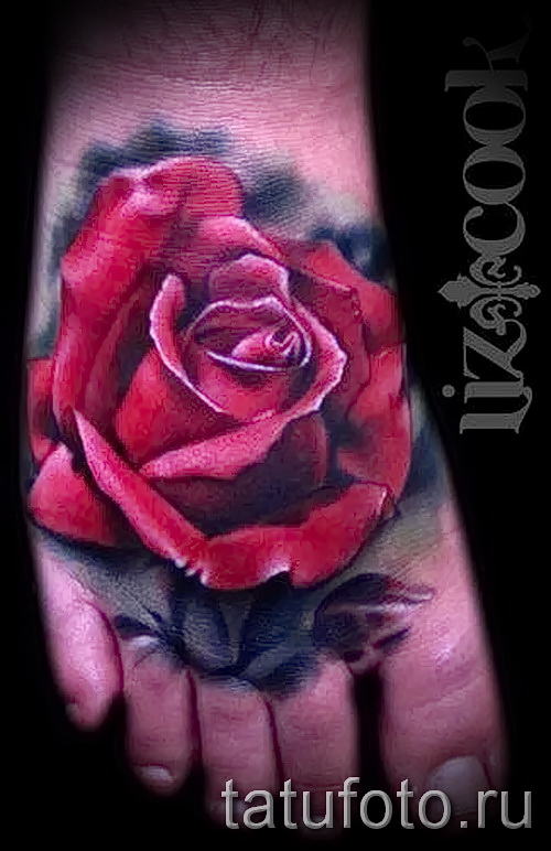 Rose tattoo on foot - Photo by option number 15122015 4