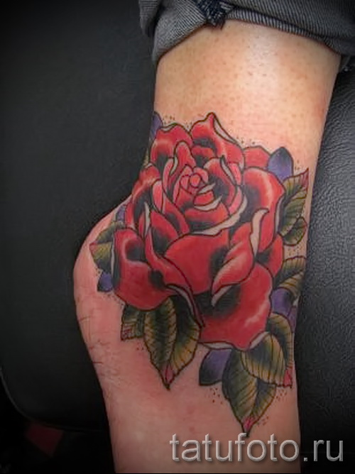Rose tattoo on his ankle - an example in the photo 2