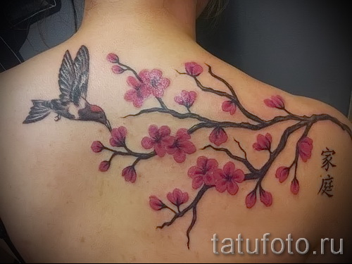 Sakura tattoo on his shoulder - Photo example of the number 12122015 1