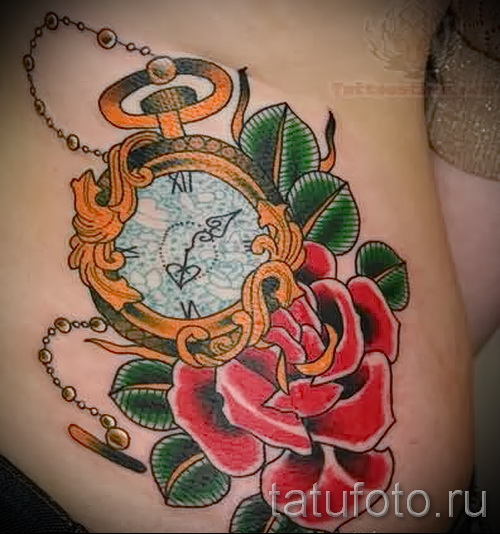 Tattoo Rose and watch - ein Foto des Optionsnummer 15122015 2