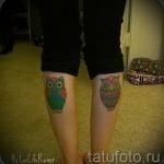 Tattoo auf der Wade owl - Foto Beispiel für die Nummer 20122015 1