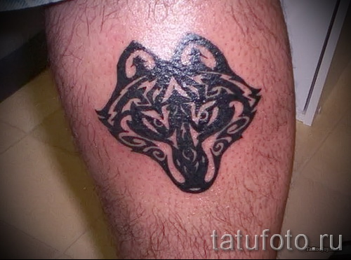 Tattoo auf der Wade wolf - Foto Beispiel für die Nummer 20122015 2