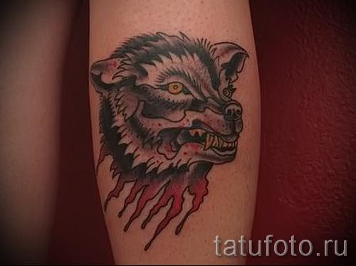 Tattoo auf der Wade wolf - Foto Beispiel für die Nummer 20122015 1
