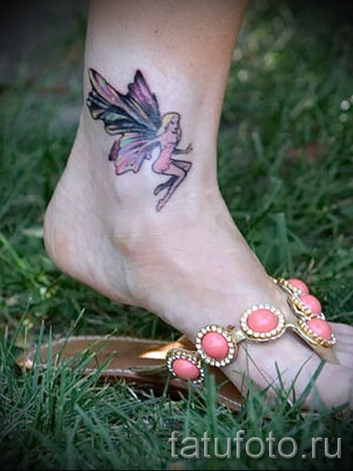 Women's tattoo on his leg at the ankle - an example of the photo 5