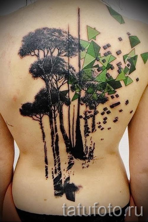 abstrakt Tattoo auf dem Rücken - ein Foto beispielsweise der Anzahl 21122015 1