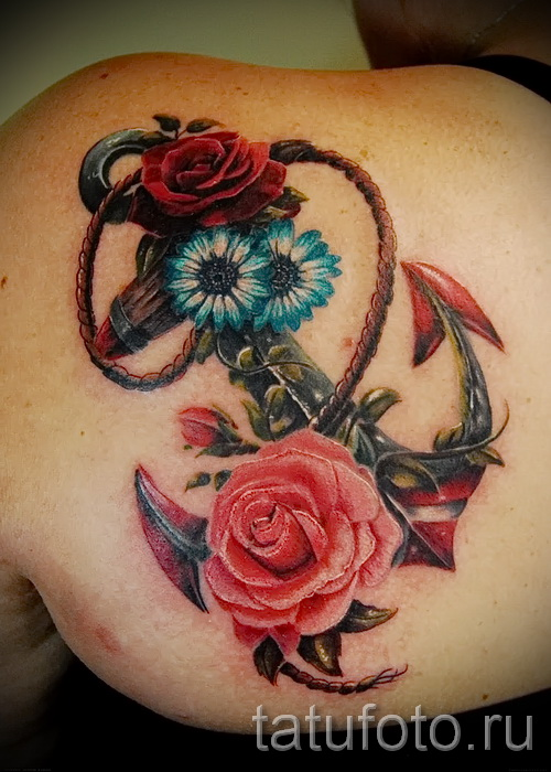 anchor tattoo with flowers - Picture option from the number 21122015 1