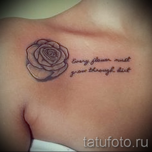 flower tattoo on her collarbone - Picture option from the number 21122015 1