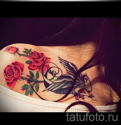 flower tattoo on her collarbone - Picture option from the number 21122015 3