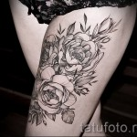 flower tattoo on thigh 1