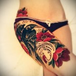 flower tattoo on thigh 2