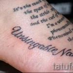 inscription tattoo on his ankle - an example in the photo 4