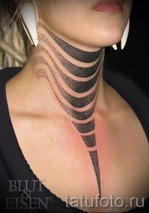 neck tattoo abstraction - Photo example of the number 21122015 1