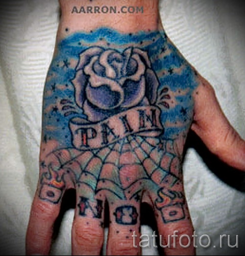 rose tattoo on the hand - Photo option from the number 15122015 12