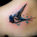 swallow tattoo on the blade - Photo example 3