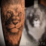 tattoo on the calf lion - Photo example of the number 20122015 1