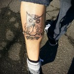 tattoo on the calf owl - Photo example of the number 20122015 1