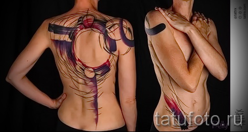 tattoo on the lower back abstraction - Photo example of the number 21122015 1